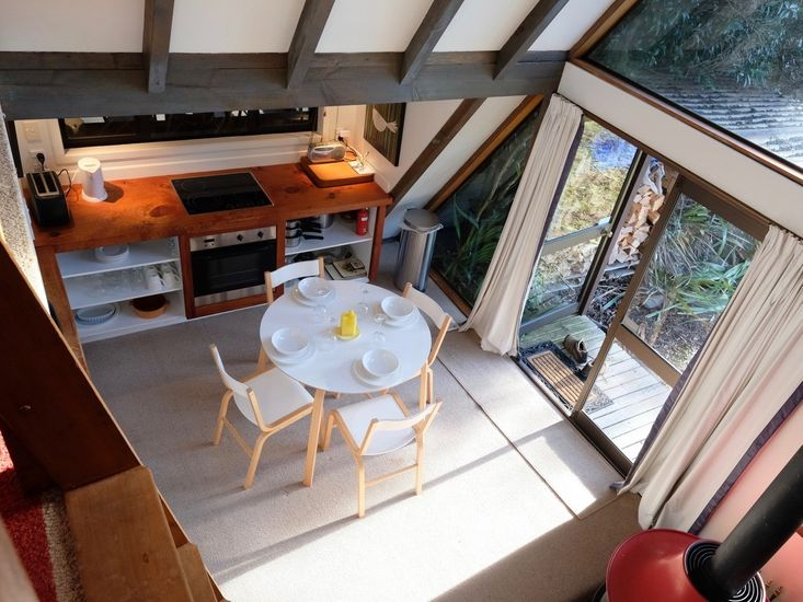 Adventure A-Frame - Ohakune Holiday Home - Dining and Kitchen - View from Loft