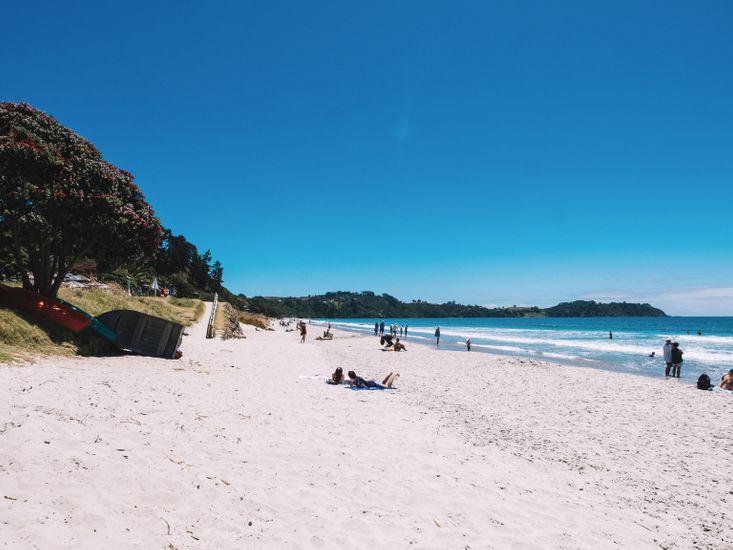 Onetangi Beach (not taken from the property)