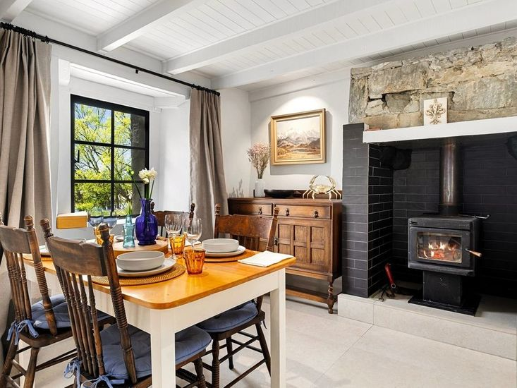 Kitchen dining area and woodburner
