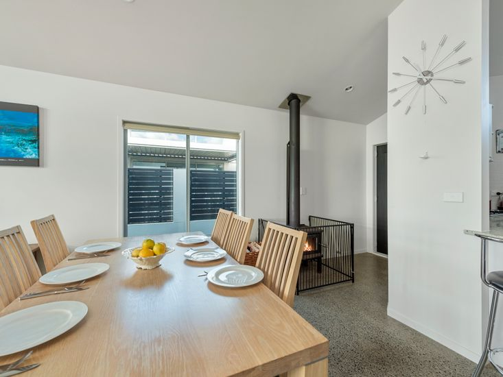 Dining Table and Fireplace