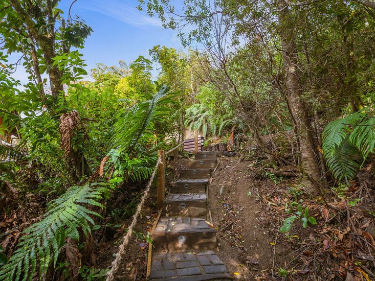 Stairs going up to the secluded spa
