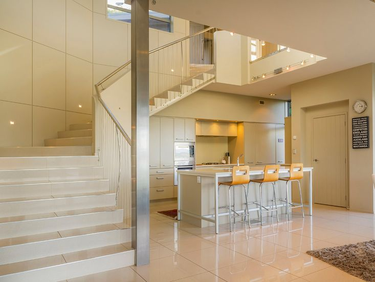 Stairwell down into living area