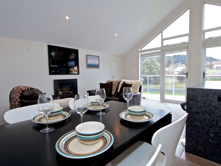 Dining table onto living area