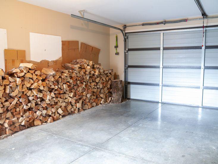 Firewood in garage