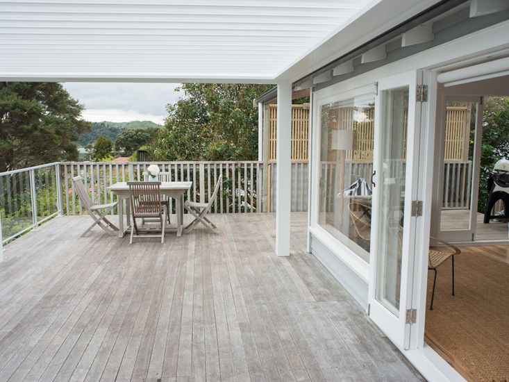 Outdoor living with views over Raglan