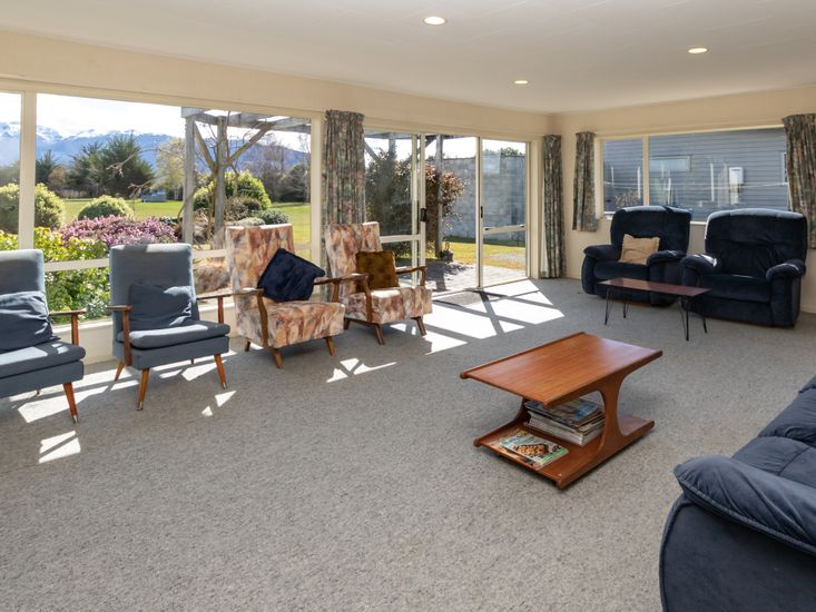 Views of the mountains and lake from the spacious lounge