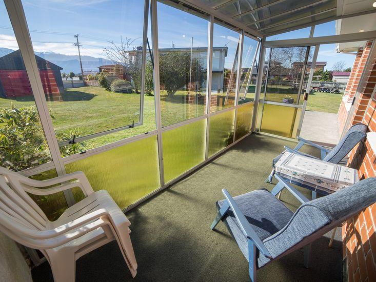 Sun room with mountain views