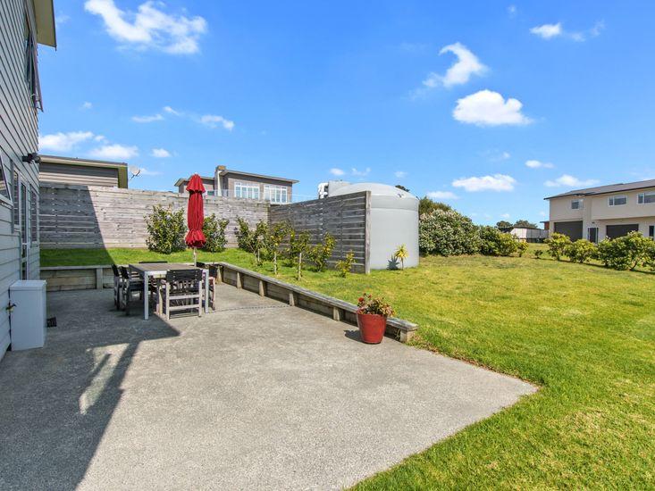 Outdoor dining patio and garden