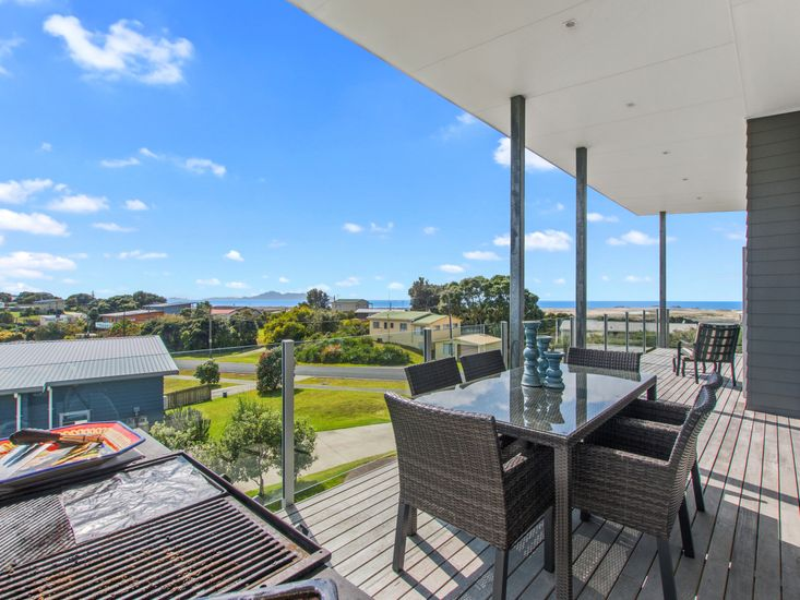 Decking and views of the Mangawhai sand dunes