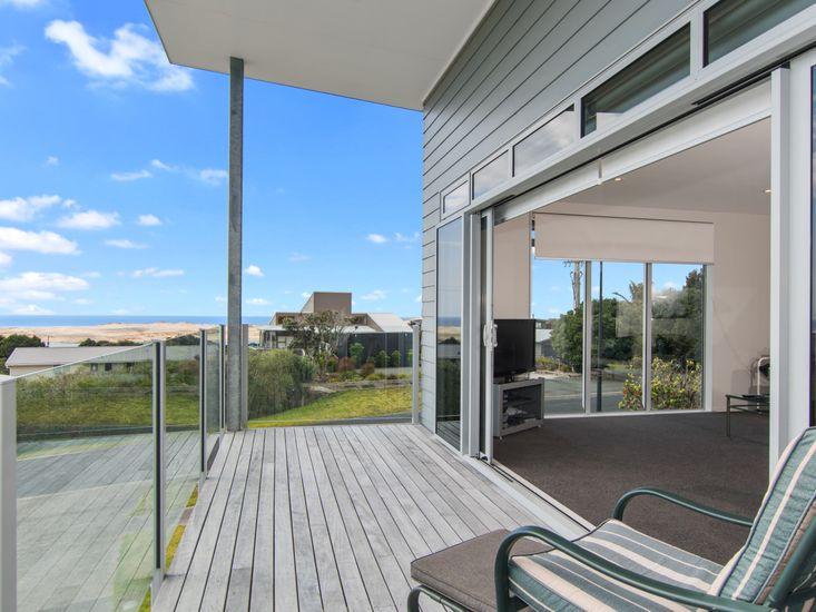 Decking and views over Mangawhai sand dunes