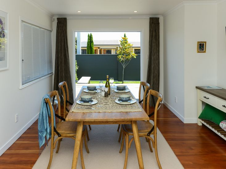 Dining table opens out to front decking
