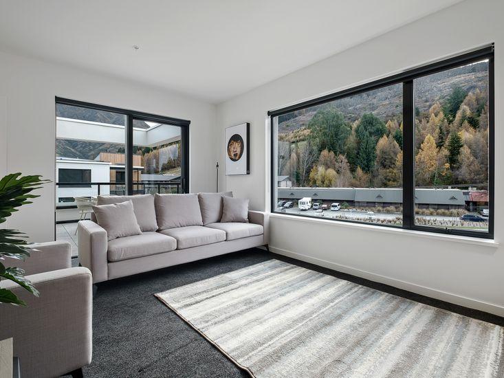 Lounge space around fireplace