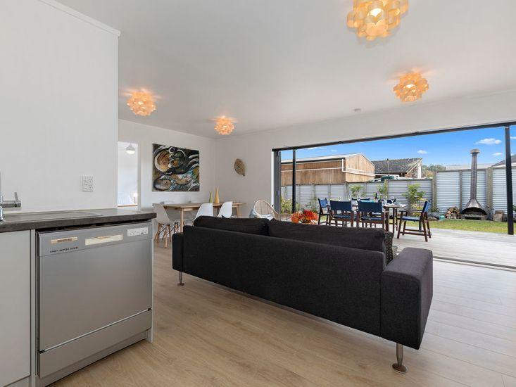 Kitchen onto living area