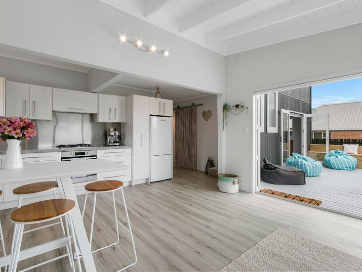 Open plan living, dining and kitchen space