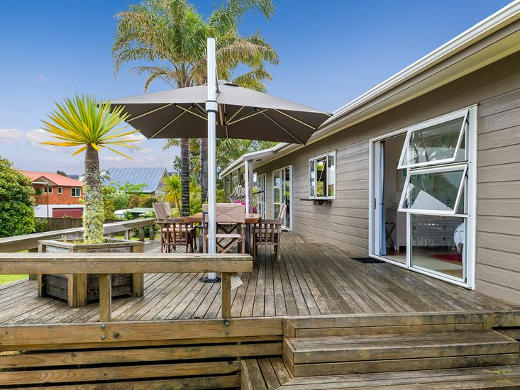 Large deck for outdoor living and dining