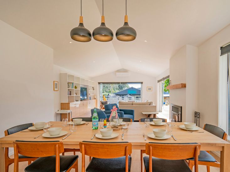 Large family dining table onto lounge