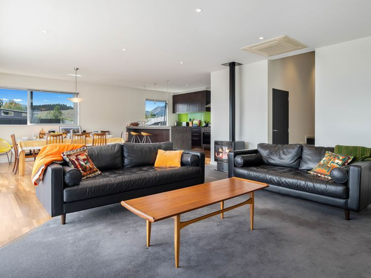 Open plan living area with fireplace