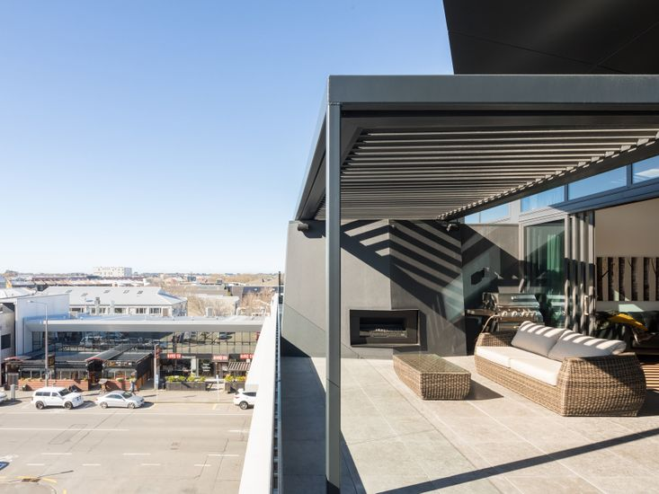 Large modern sundeck looking out over central Christchurch