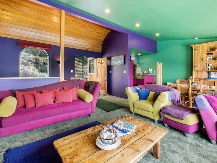 Vibrant lounge and dining room