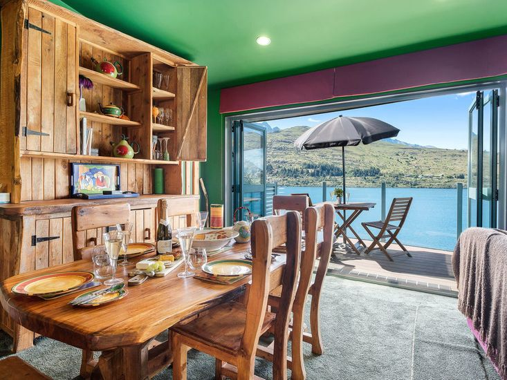 Large wooden dining table with a view!