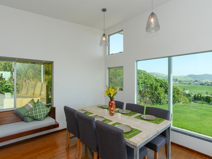 Dining table with views out to the ocean