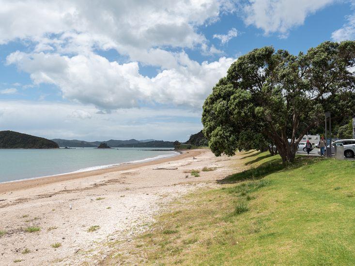 Paihia Beach across the road