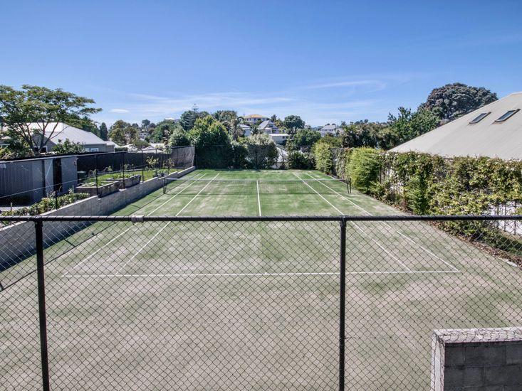 Overlooking tennis courts