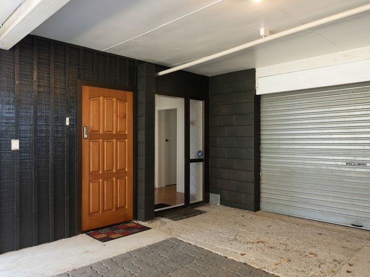 Front door - parking space