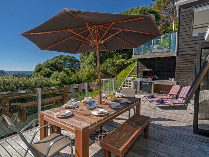 Large deck and outdoor BBQ area with stunning views