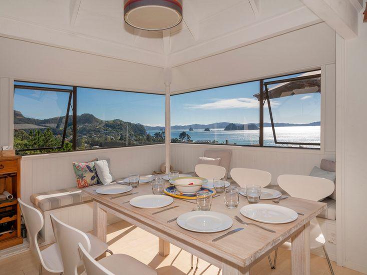 Dining area with the panoramic views of Hahei beach