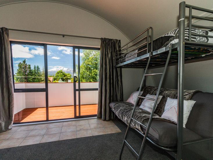 Bunk in the master bedroom and balcony