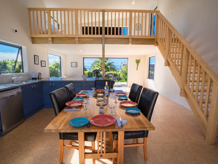 Mezzanine floor above the open plan living, dining and kitchen area