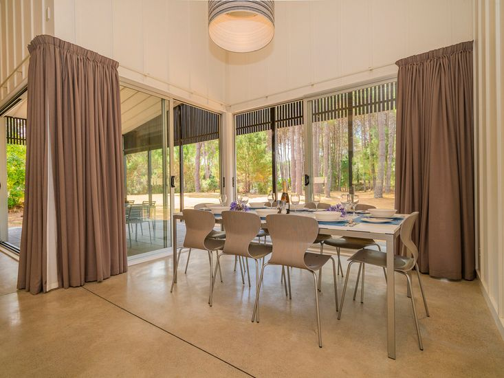 Dining table opens out to the veranda