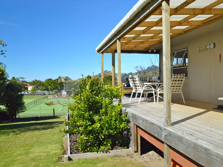 Sundeck looks out to the tennis court