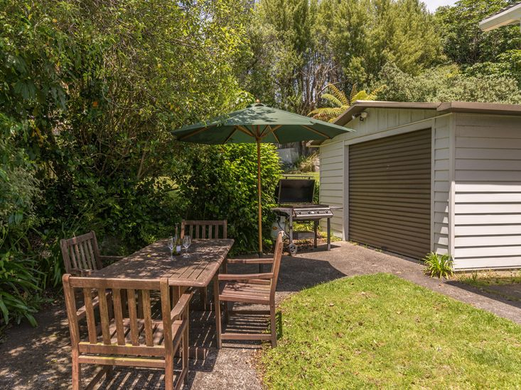 Outdoor dining and BBQ area in the garden