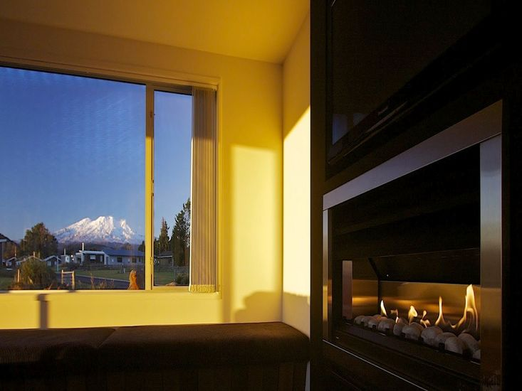 Snuggle up by the fire with this amazing view