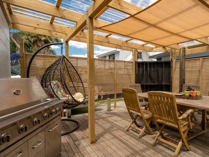 Sheltered outdoor living and dining