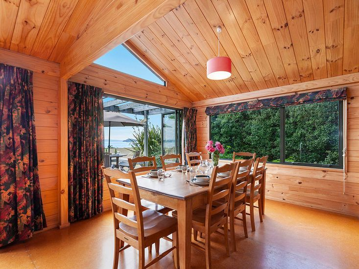 Dining table opens out to decking
