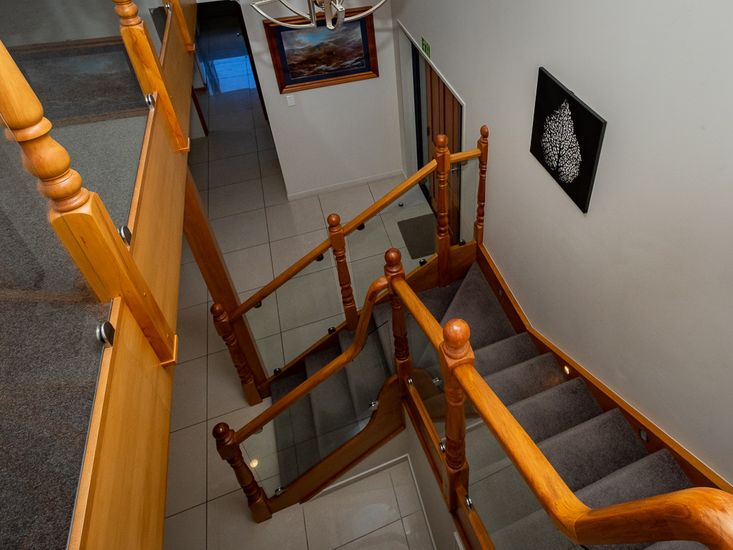 Front entrance and stairwell to the top floor