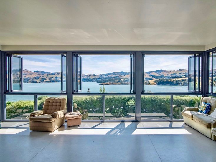 Sunroom looks out to the harbour