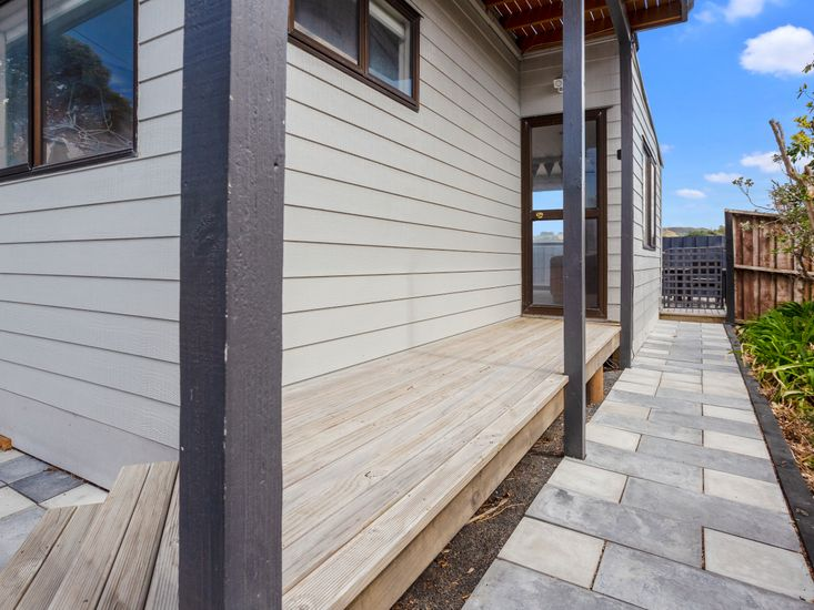 Paved garden and back door