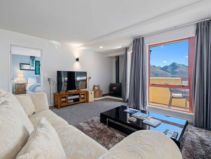 Lounge area around TV and fireplace