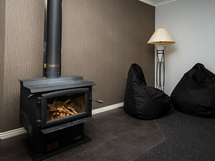 Fireplace and beanbags