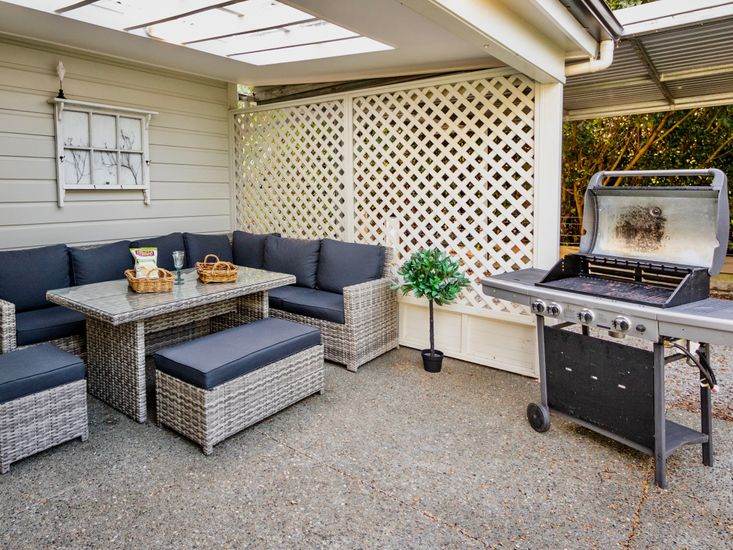 Comfy outdoor living and BBQ area