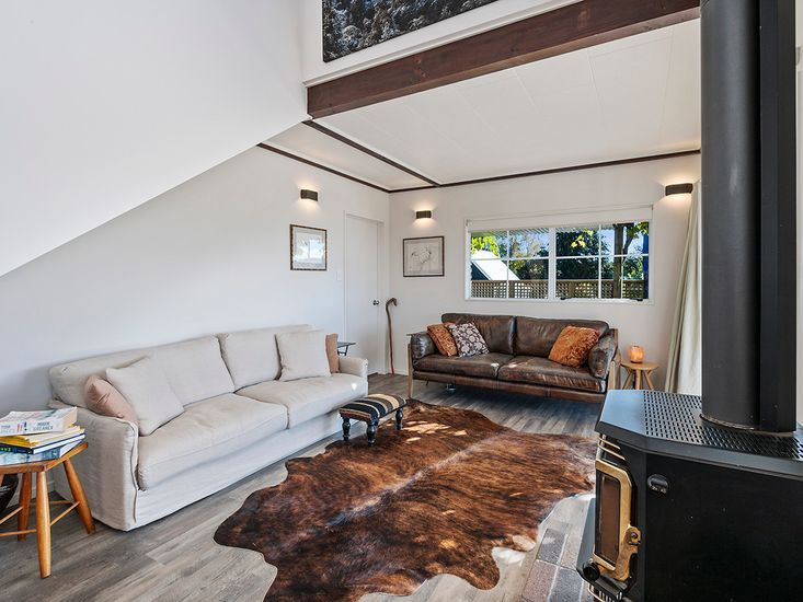 Lounge area around the fireplace