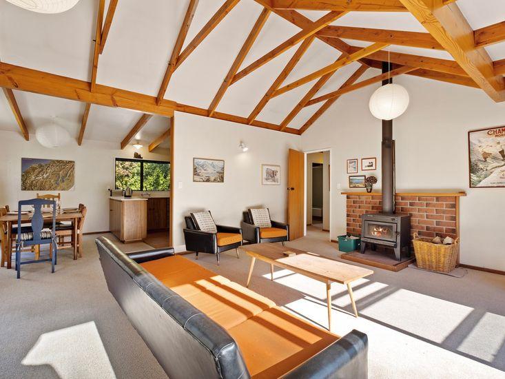 Large lounge space area around fireplace