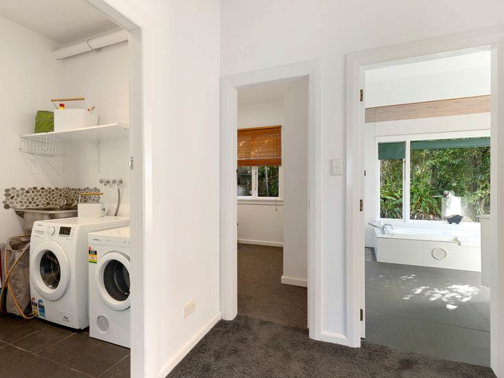 Laundry onto bedrooms and bathrooms