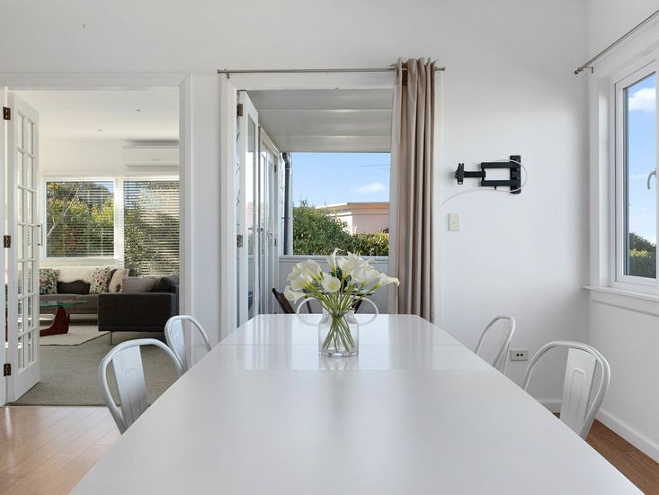 Dining table onto balcony and lounge