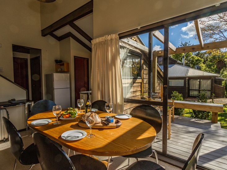 Dining table opens out to the sundeck