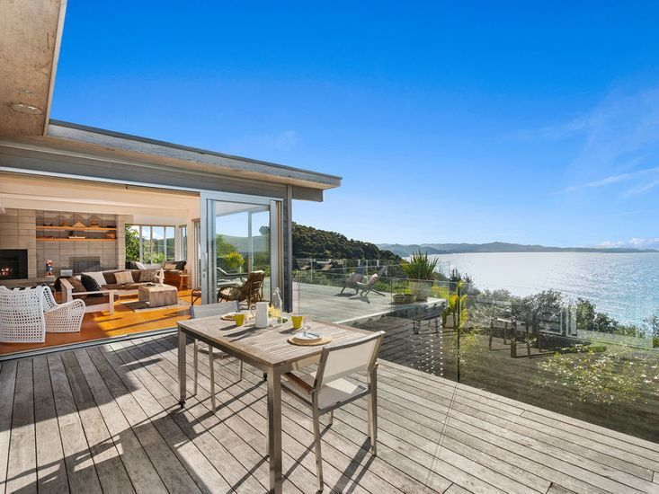 Outdoor dining area on the sundeck with views